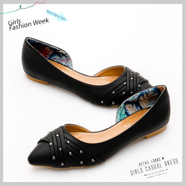 尖头鞋-复古线条铆钉侧挖空平底鞋-名媛黑