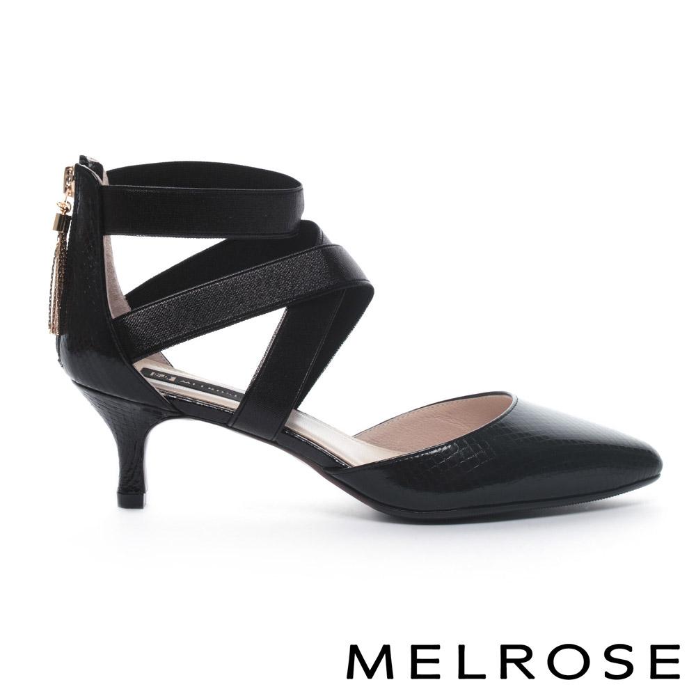MELROSE 奢华蛇纹牛皮尖头交叉系带高跟鞋-黑
