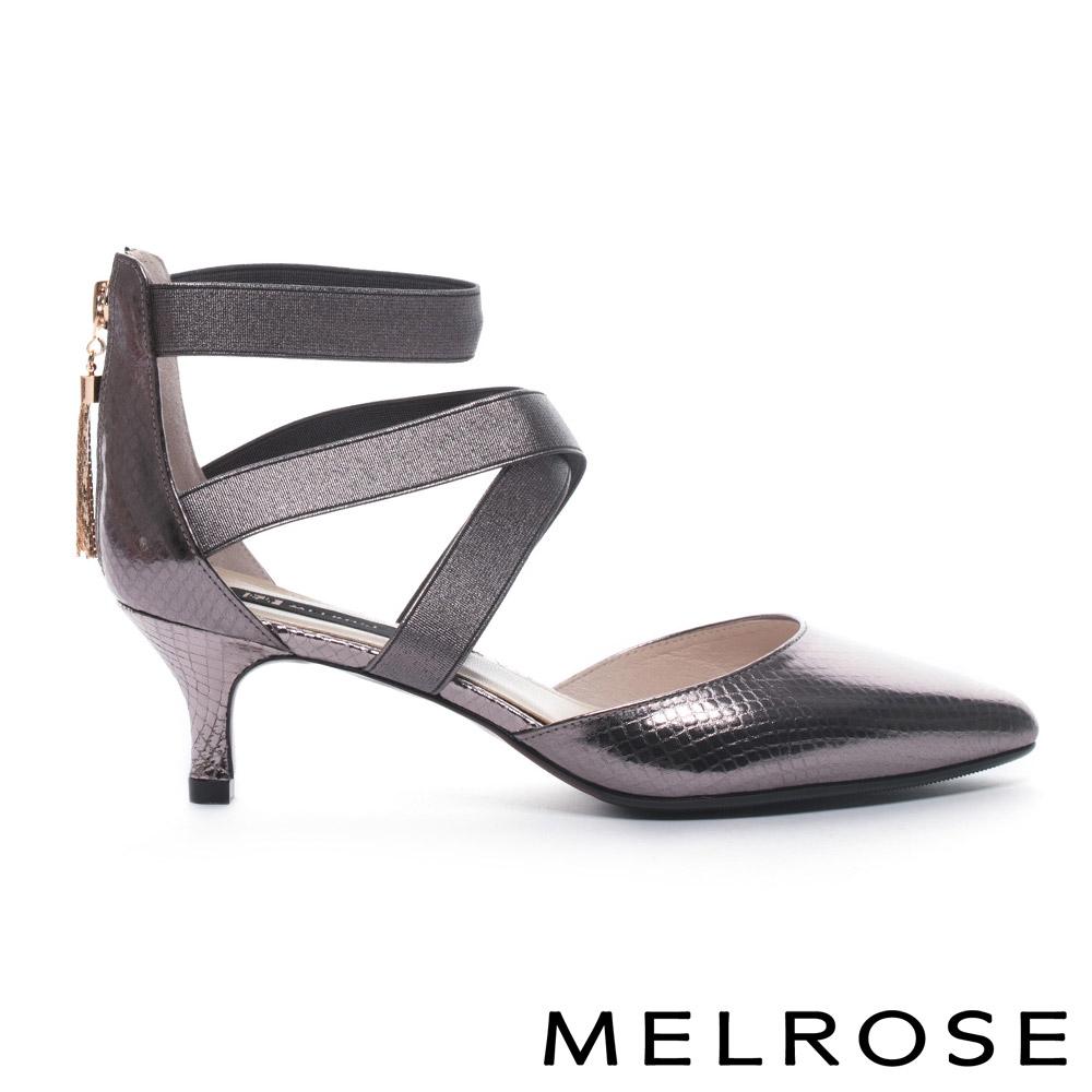 MELROSE 奢华蛇纹牛皮尖头交叉系带高跟鞋-古铜