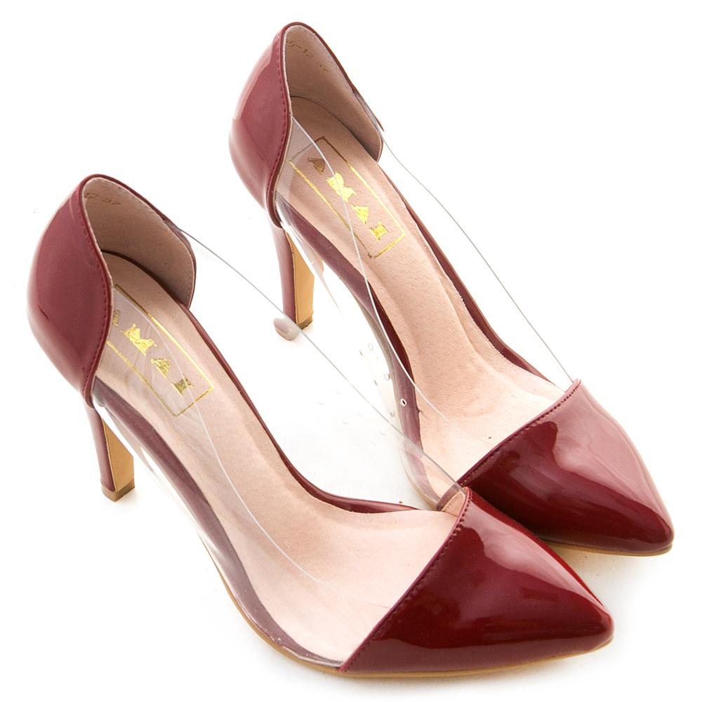 金属镜面透明侧拼接尖头高跟鞋 红