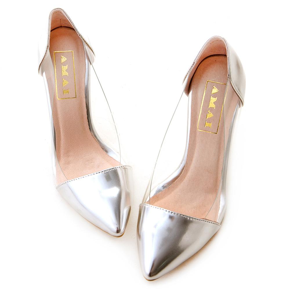 金属镜面透明侧拼接尖头高跟鞋 银