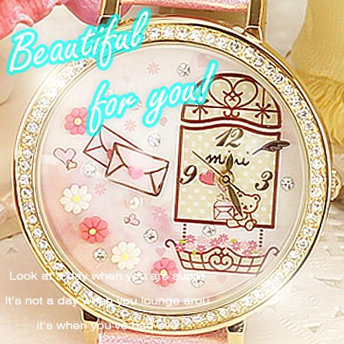 正韓~匠子工坊~~UQ0049~韓國100^%正品 製作立體軟陶錶 絨毛錶 少女粉雕錶 情