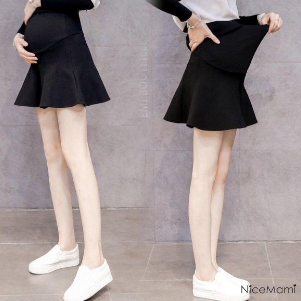 *漂亮小妈咪*加厚 毛呢 伞状 孕妇装 短裙 托腹裙 高腰托腹裙 迷你裙 黑色 S6653