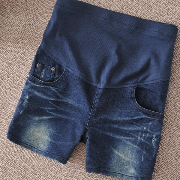 *漂亮小妈咪*韩版 潮流 刷白 五分裤 孕妇 牛仔短裤 孕妇短裤 孕妇托腹裤 P316BQ