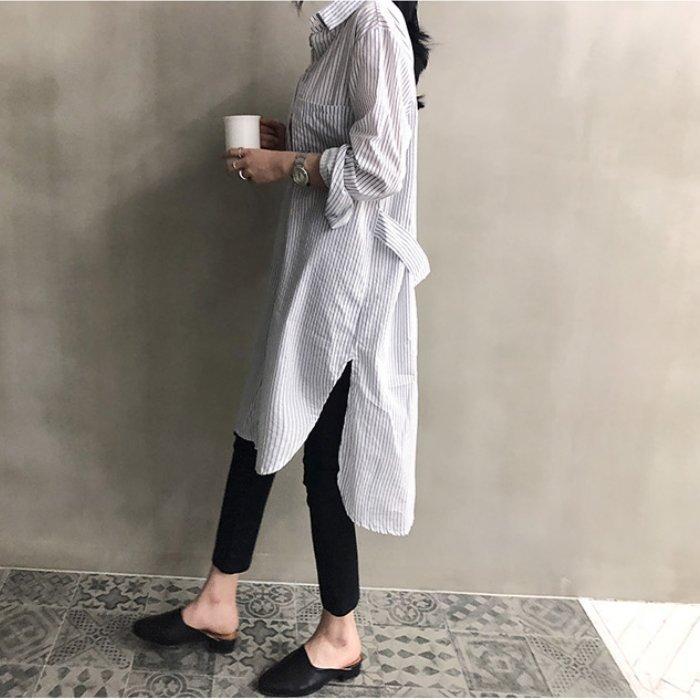 *漂亮小妈咪*韩系 慵懒 条纹 长袖 宽松 长版 衬衫 孕妇洋装 孕妇装 衬衫洋装 D1223