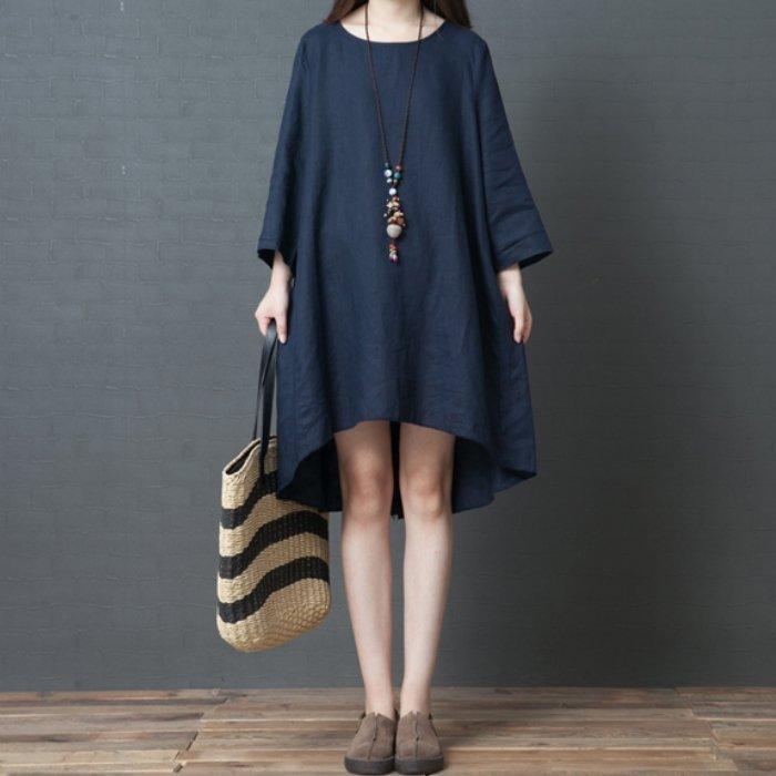 *漂亮小妈咪*原创 文艺 前短后长 七分袖 柔软 亲肤 棉麻 孕妇装 韩国 亚麻 洋装 D3598