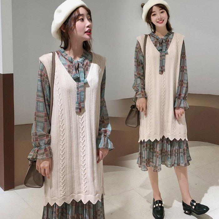 *漂亮小妈咪*韩国 格纹 长袖 连身洋装 孕妇装 雪纺 孕妇洋装 领口 蝴蝶结 连身裙 D1110