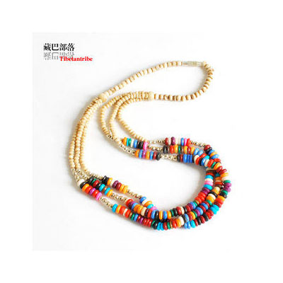 女款項鏈 藏飾三層彩色犛牛骨頸鏈 彩色骨項鏈