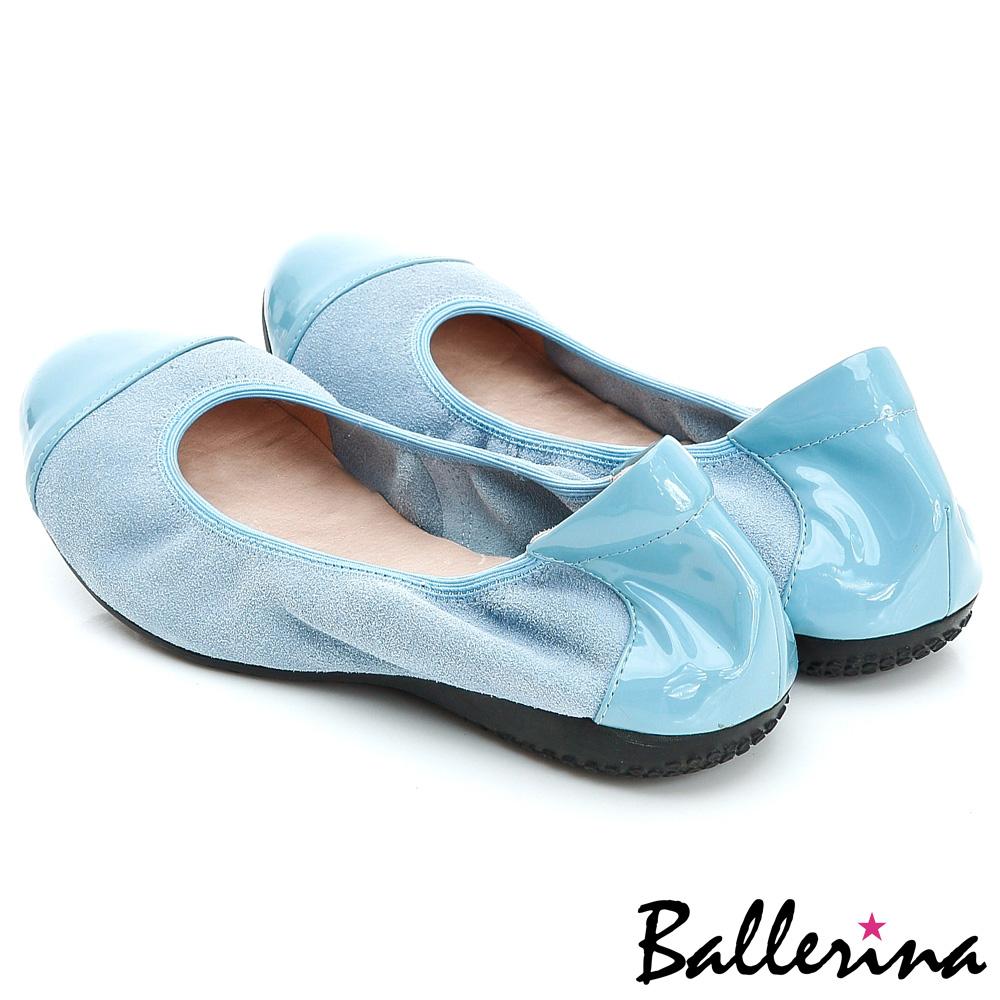 ~新春特惠▼單一價988~Ballerina~柔軟彎曲.全真皮雙拼皮革娃娃鞋~藍