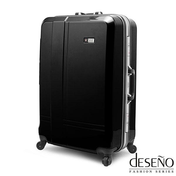 良品~Deseno~光燦魔力~28吋PC鋁框拉桿行李箱^(黑色^)