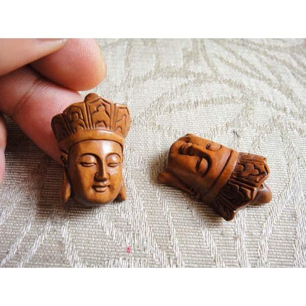 黃楊木^(小號^)地藏王佛頭手玩件掛件吊墜