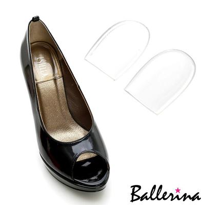 Ballerina~隱形果凍矽膠自黏半弧形腳後跟墊^(2對入^)