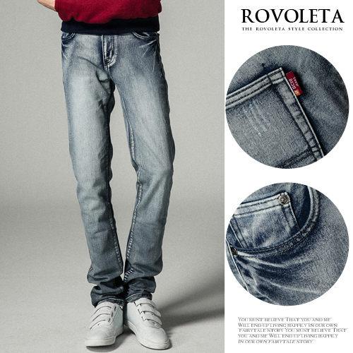 ROVOLETA.牛仔褲~淺色刷白水洗褲.型男.穿搭.男裝.UN~1752