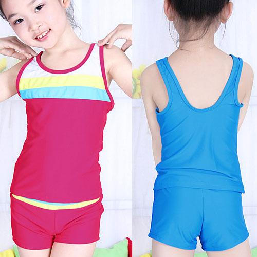 ~好動網~活潑動感.拼接色彩兒童二件式泳衣 E311~I1409^( 兩件式泳裝 兩件式泳