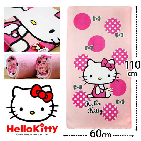 Sanrio Hello Kitty 復古紅圓點凱蒂貓小浴巾