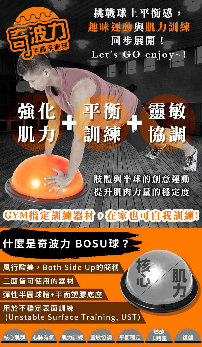 奇波力專業半圓平衡球(BOSU球/博速球/balance step)Funsport