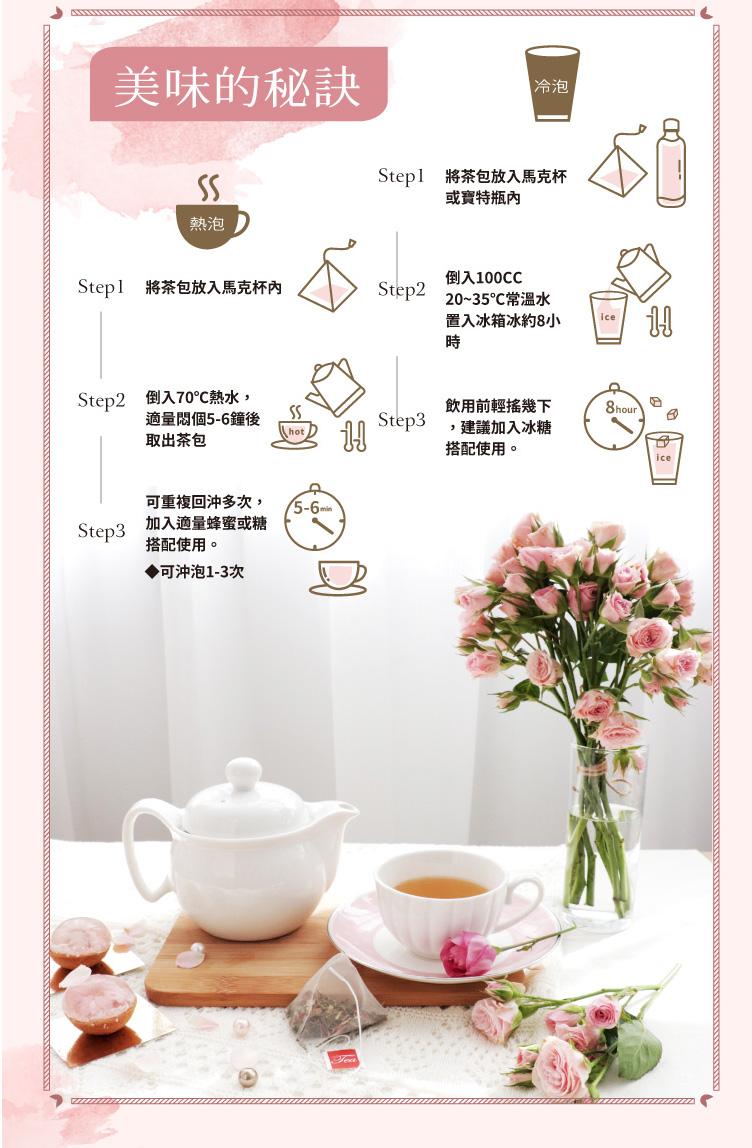 【台灣茶人】荷葉玫瑰纖盈茶3角立體茶包(18包入)