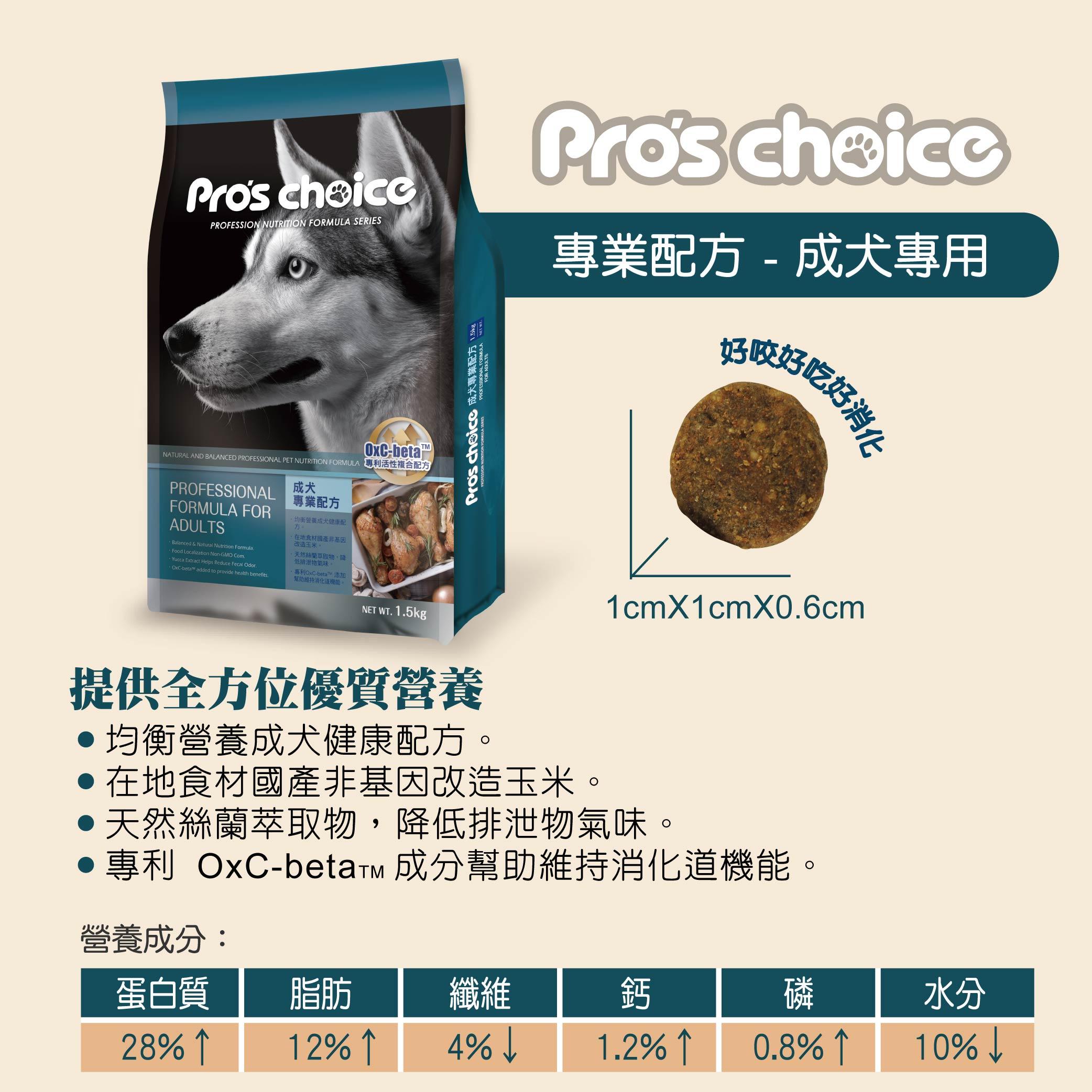 博士巧思成犬專業配方 顆料大小、產品特色、營養比例