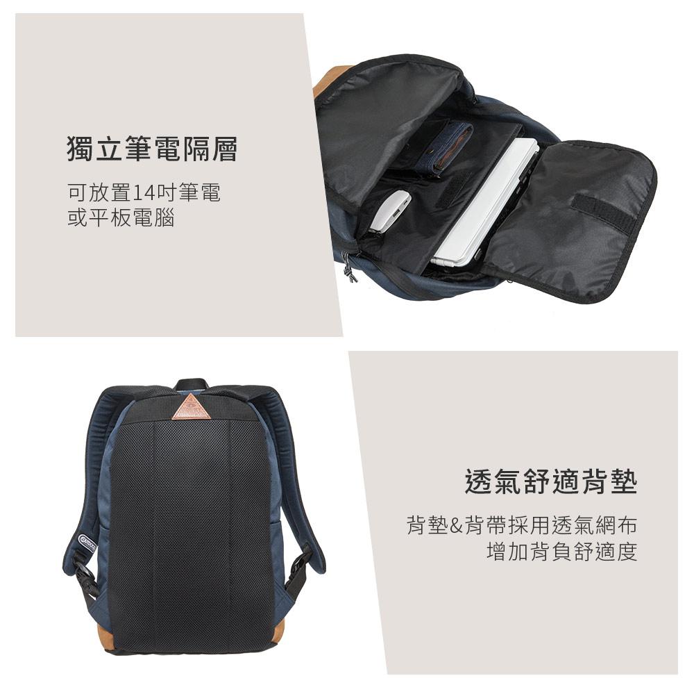 【OUTDOOR】率真年代-14吋筆電皮底後背包-深藍色 OD62026NY