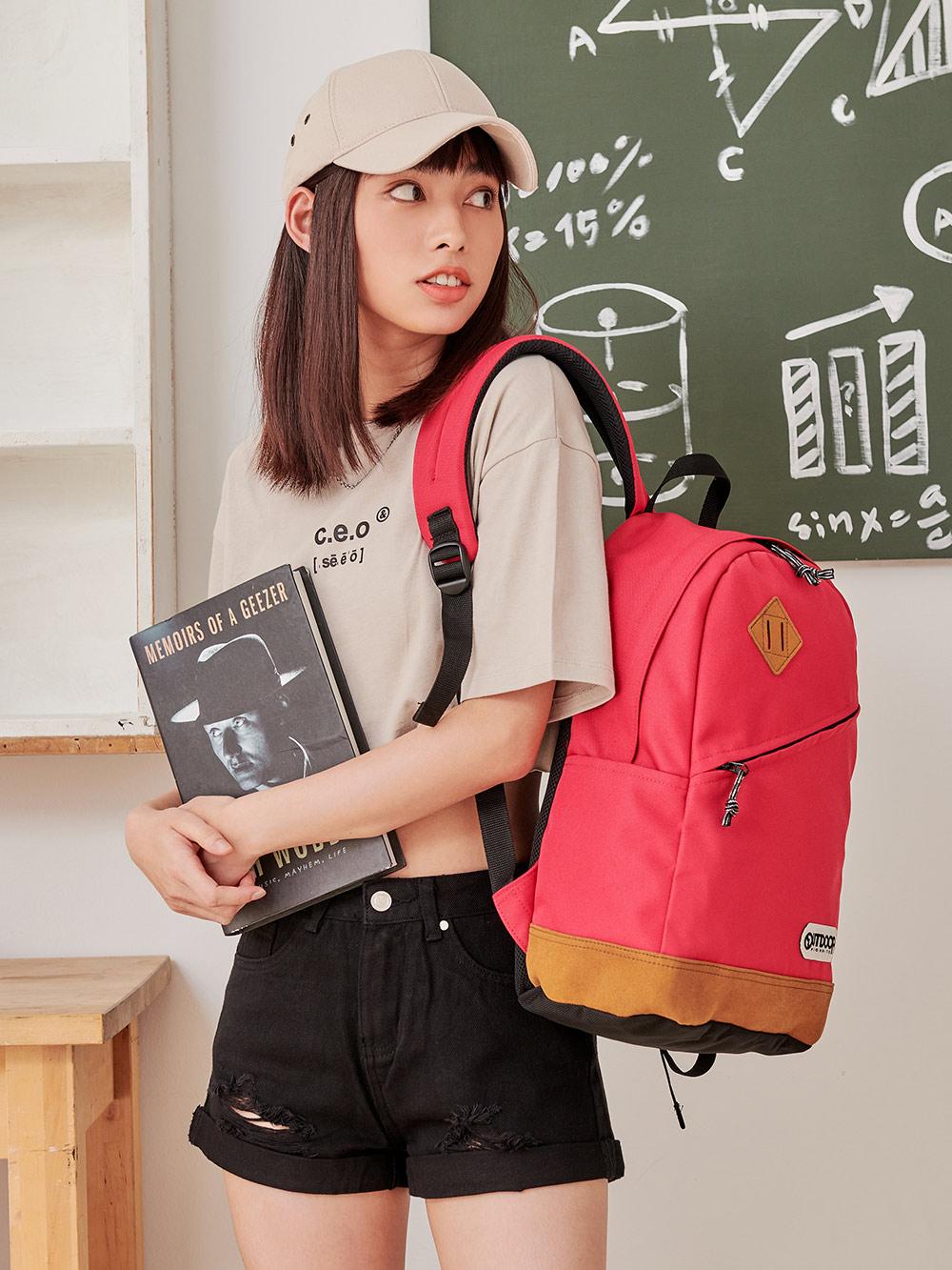 【OUTDOOR】率真年代-14吋筆電皮底後背包-桃紅色 OD62026FC