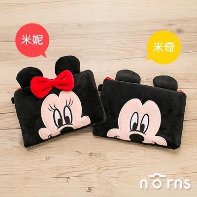 迪士尼扁型雙拉鍊絨毛筆袋(米奇)