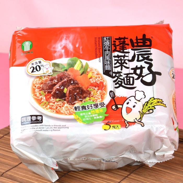 【中華民國農會】農好蓬萊麵-紅燒牛肉風味(64g*5包)