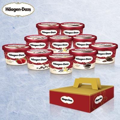 【哈根達斯】臻享寵愛禮盒(巧克力冰淇淋75ml*2、香草冰淇淋75ml*2、草莓冰淇淋75ml*2、淇淋巧酥冰淇淋75ml*2、咖啡冰淇淋75ml*2)