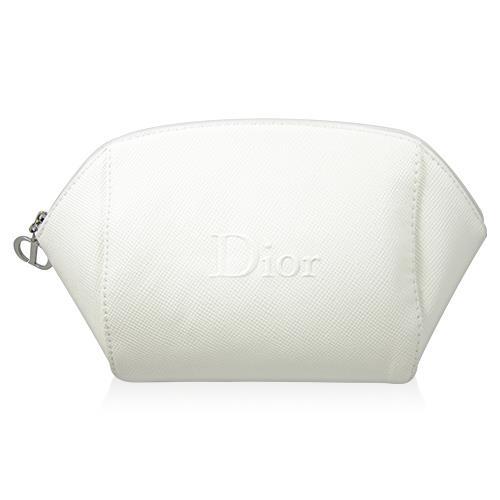 Dior 迪奧 立體LOGO 白色壓紋化妝包(底橫長14cm 邊寬6cm 直高12cm) [QEM-girl]