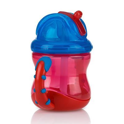 【NUBY】雙耳防漏彈跳吸管水杯-顏色:紅/橘/藍隨機出貨不挑款