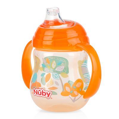 【NUBY】卡拉防漏雙耳飲嘴杯(幾何款)-顏色:藍/綠/橘隨機出貨不挑款
