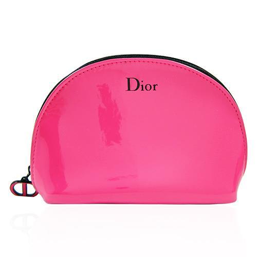 Dior 迪奧 桃紅亮皮化妝包 【QEM-girl】