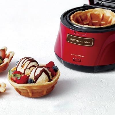 Recolte 日本麗克特 Waffle Bowl Maker 碗型/杯子鬆餅機 附20道創意食譜 甜心紅 RWB-1 創意鬆餅首選 早午餐首選