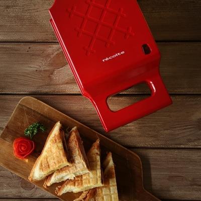 Recolte 日本麗克特Press Sand Maker Quilt 格紋熱壓三明治機 甜心紅 附贈33道精緻食譜 早午餐首選