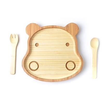 la-boos 台灣天然竹製 環保兒童餐具組 - 胖胖河馬