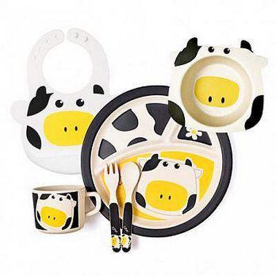 la-boos 台灣環保竹纖兒童學習餐具套組 可愛乳牛