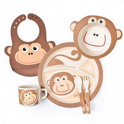 la-boos 台灣環保竹纖兒童學習餐具套組 淘氣猴