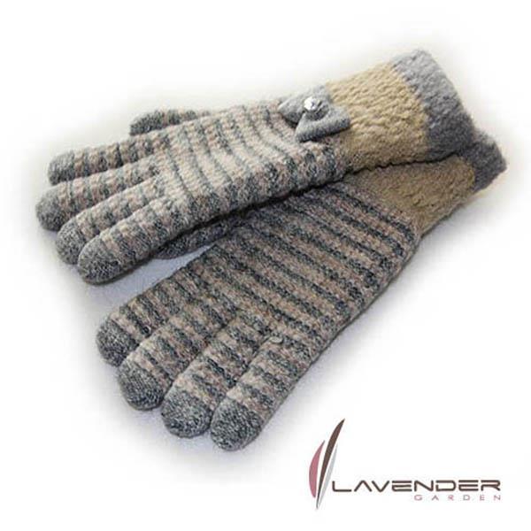 【Lavender】蝴蝶結條紋針織雙層手套-灰色