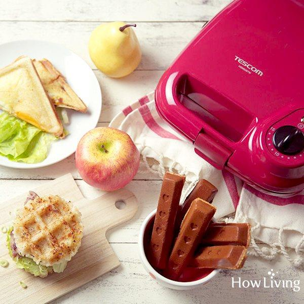 TESCOM 日本多功能3種烤盤鬆餅機 甜心紅 (含格子/三明治/點心棒烤盤 )HSM530TW 早午餐首選