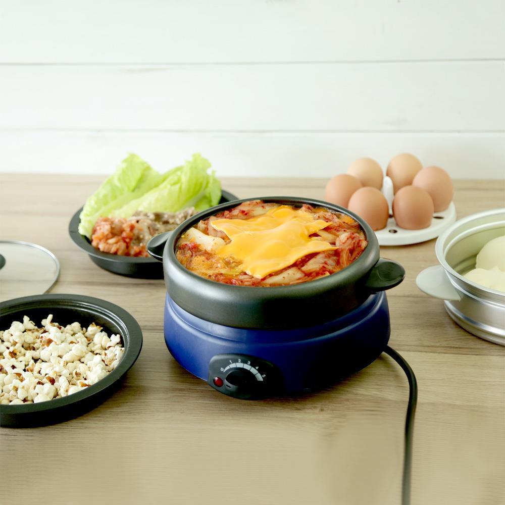 (限時免千)綠恩家ENEGREEN日式5合1輕巧萬用鍋/小火鍋 (含平底鍋、烤盤、湯鍋、蒸籠及蒸蛋器) KHP-520T