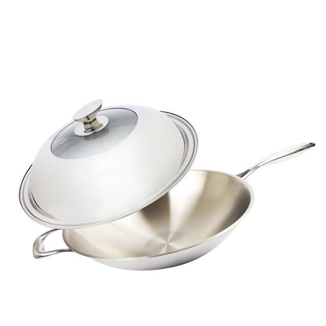WOKY沃廚輕量化玫瑰金不鏽鋼萬用炒鍋(36cm)