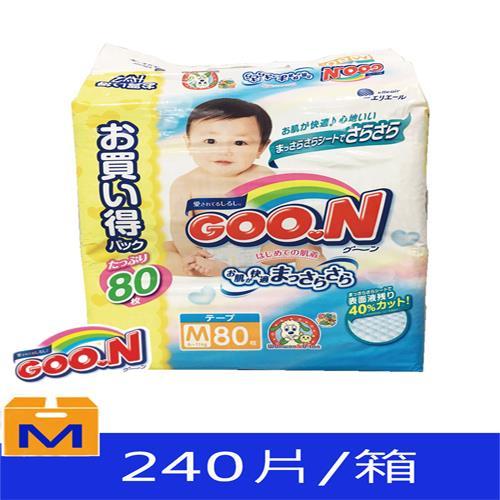 【日本大王GOO.N】境內版紙尿布黏貼型(M 6-11kg)80片*3包/箱