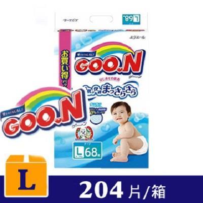 【日本大王GOO.N】境內版紙尿布黏貼型(L 9-14kg)68片*3包/箱