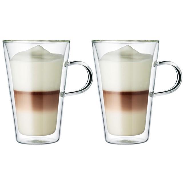 丹麥bodum CANTEEN雙層附把玻璃杯400CC(一盒2入)適用微波爐/烤箱/洗碗機