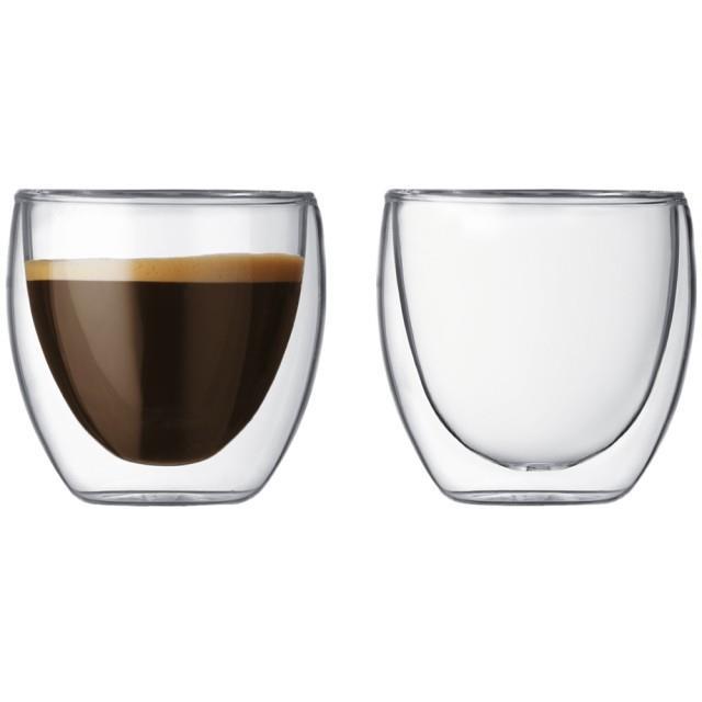 (送2018桌曆+鑰匙圈)丹麥bodum PAVINA雙層玻璃杯80CC(一盒2入) 適用微波爐/烤箱/洗碗機