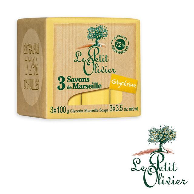 【法國小橄欖樹Le Petit Olivier】甘油馬賽皂 (100g*3)