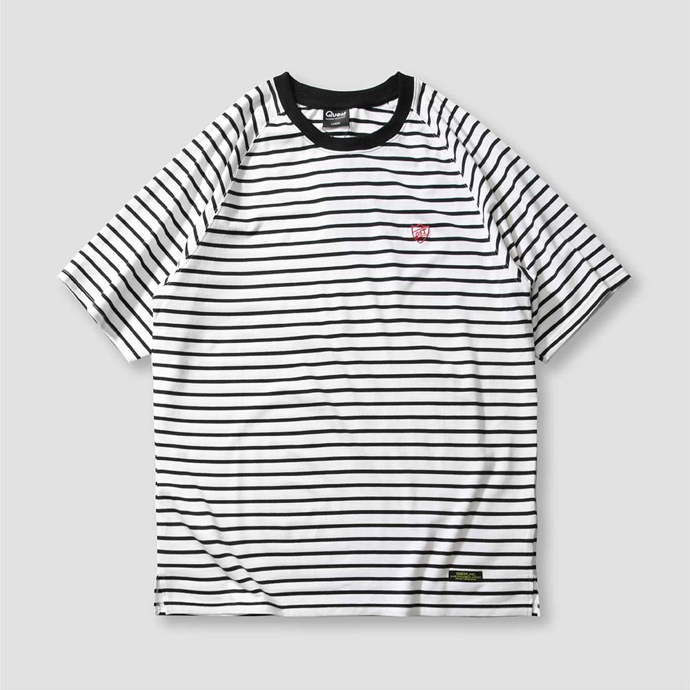 【QUEST】STRIPED OVERSIZE TEE 落肩條紋短T