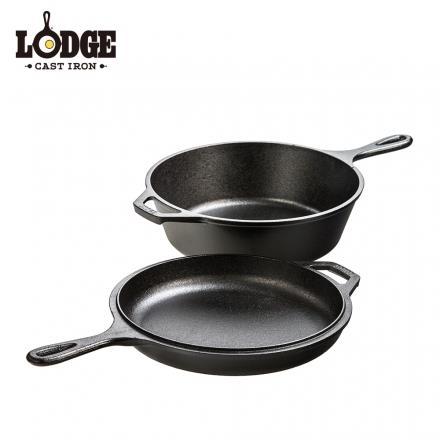 Lodge 美國原裝 26cm鑄鐵多用途雙鍋組 不挑鍋/燉煮煎烤炸烘一鍋搞定