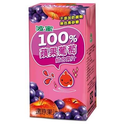 波蜜100%蘋果葡萄綜合果汁 160ml*6包/組