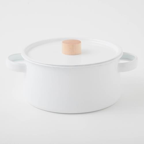 kaico 簡約風琺瑯雙耳鍋 /日本設計師小泉誠設計/搭配溫潤原木