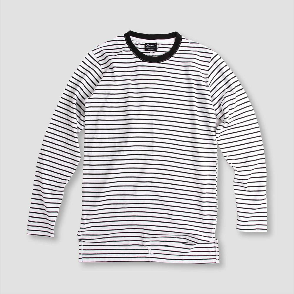 【QUEST】STRIPED CUT TEE 條紋長TEE